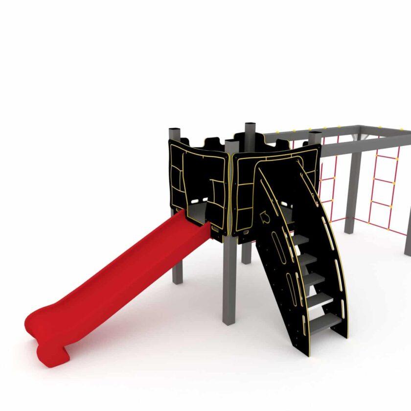Kombinasjonsapparat med klatrestativ, sklie og rutsjebane